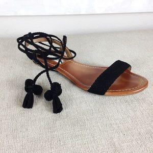 INC Black Tassel & Pom Flat Sandals 7